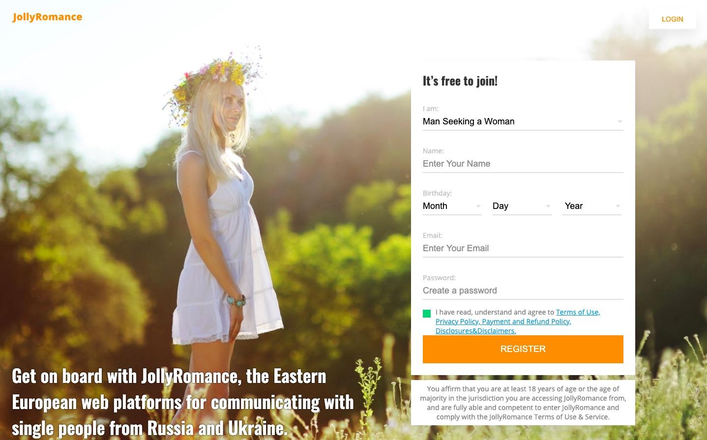JollyRomance main page