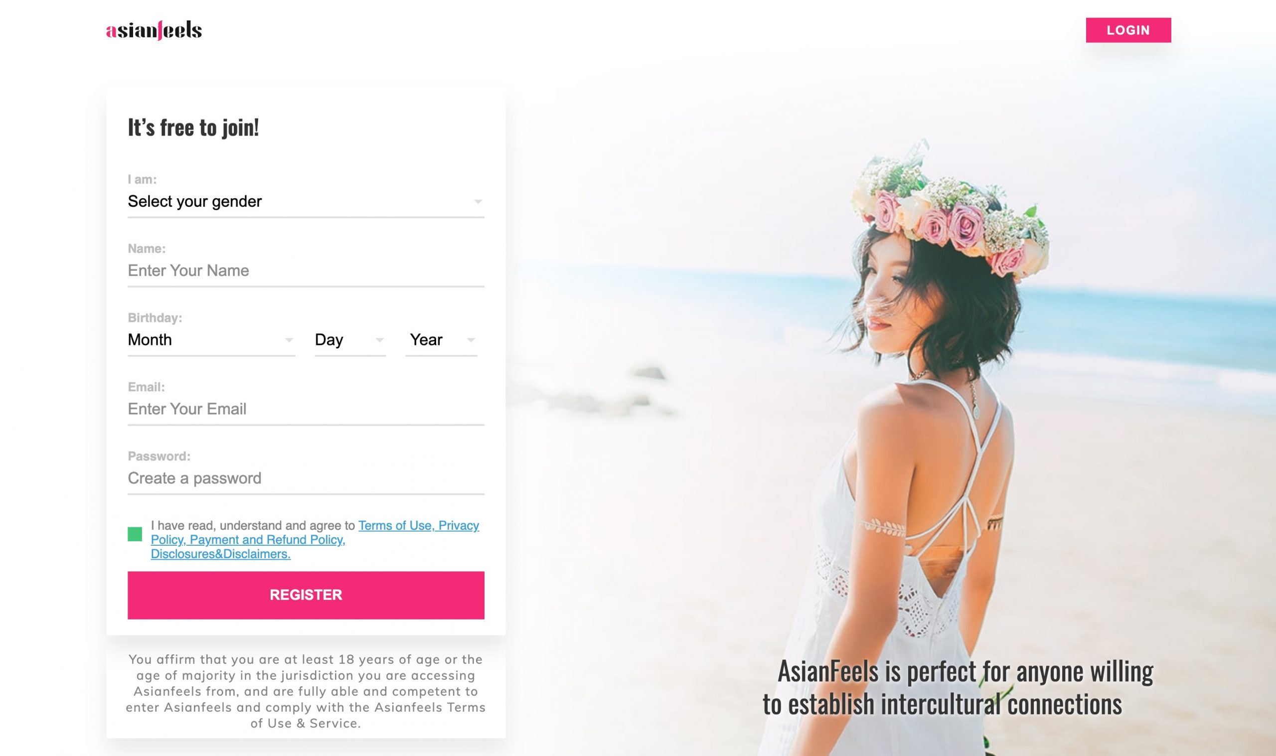 AsianFeels main page